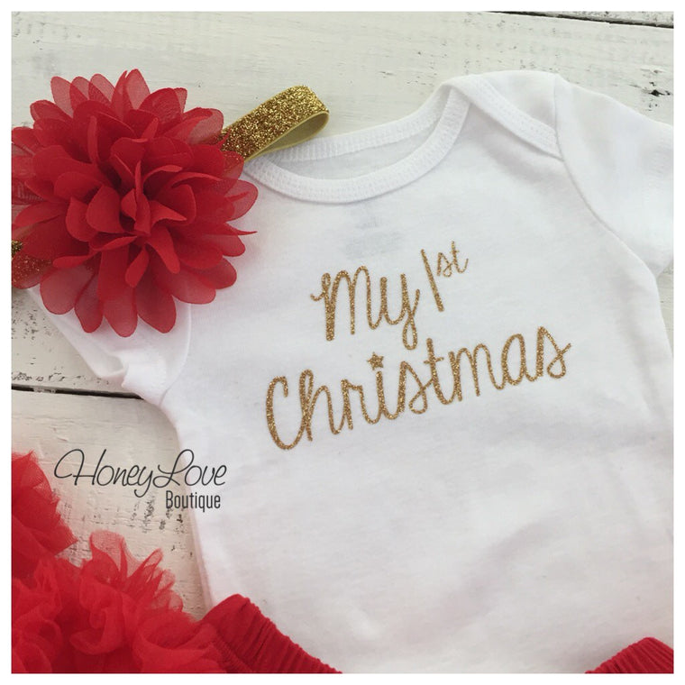 1st Christmas Outfit Set, SILVER or GOLD shirt bodysuit, red flower headband glitter elastic bow newborn infant baby toddler little girl - HoneyLoveBoutique