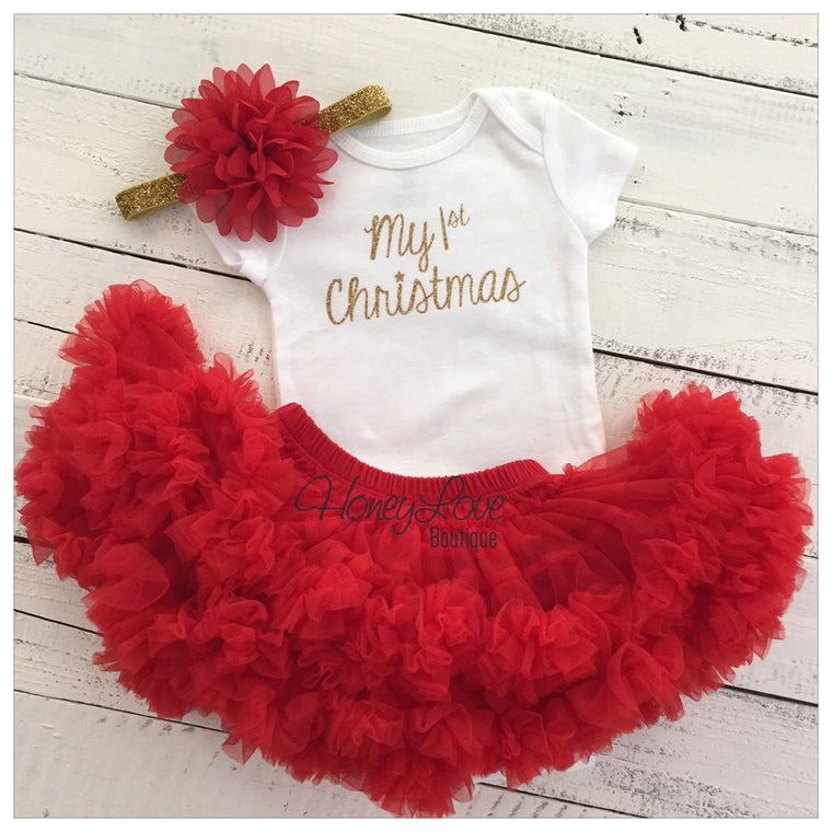 1st Christmas Set GOLD or SILVER glitter shirt red flower headband bow red pettiskirt tutu skirt infant baby girl First Santa Outfit - HoneyLoveBoutique