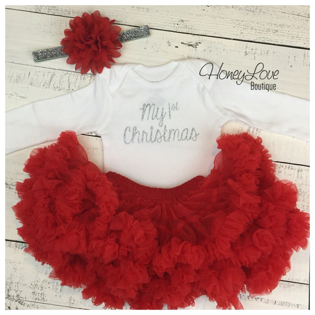 1st Christmas Set SILVER or GOLD glitter shirt red flower headband bow red pettiskirt tutu skirt infant baby girl First Santa Outfit - HoneyLoveBoutique