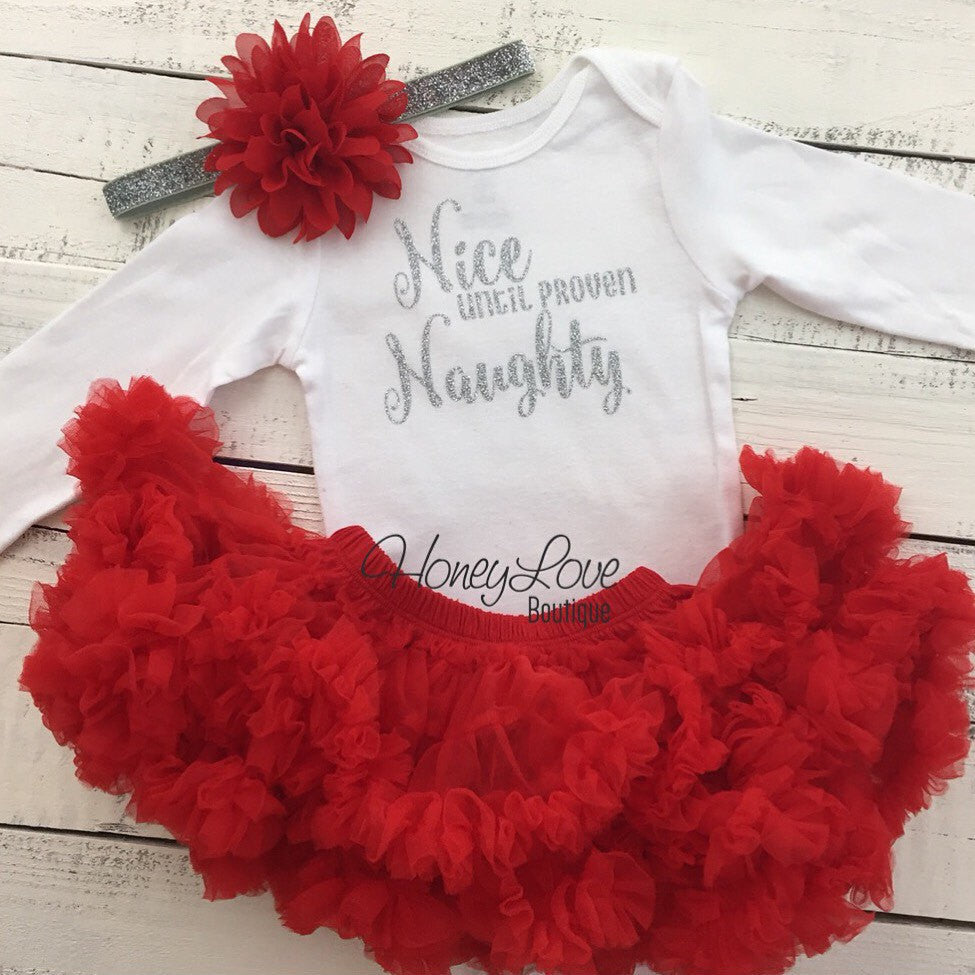 Nice until proven Naughty Christmas Set SILVER GOLD glitter shirt red flower headband bow red pettiskirt tutu skirt infant baby girl Outfit - HoneyLoveBoutique