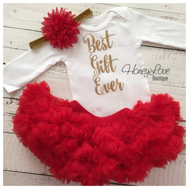 Best Gift Ever Christmas Set SILVER or GOLD glitter shirt red flower headband bow red pettiskirt tutu skirt infant baby girl Santa Outfit - HoneyLoveBoutique