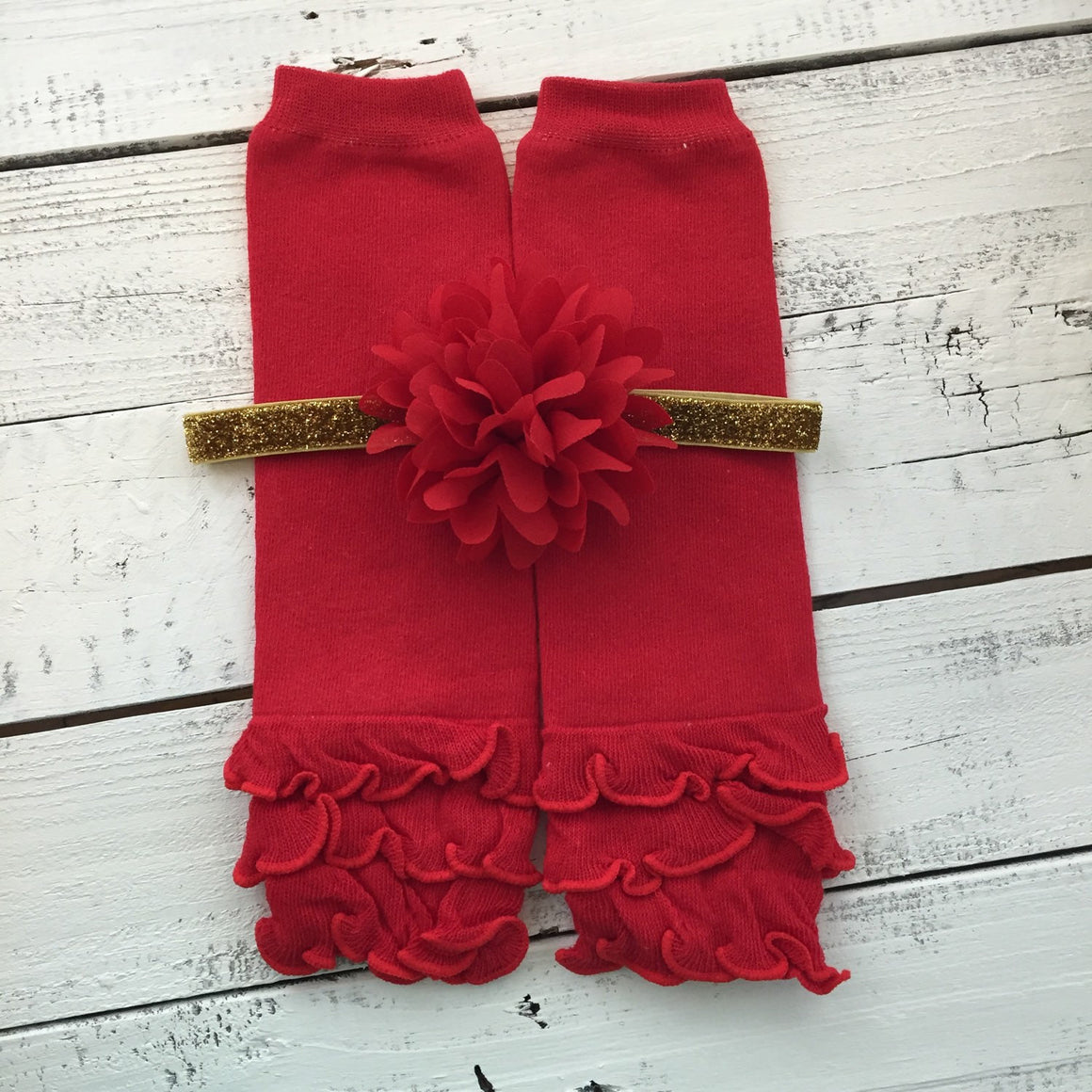 1st Christmas Outfit Set gold glitter shirt red leg warmers glitter headband bow ruffle bloomer tutu skirt diaper bloomers infant baby girl - HoneyLoveBoutique