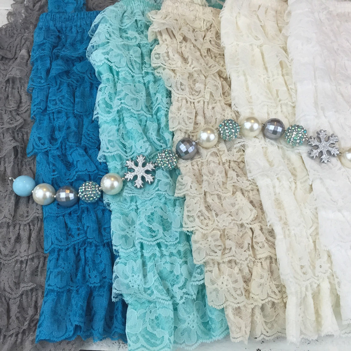 Lace Petti Romper - Grey, Turquoise, Aqua, Champagne, Ivory, White - HoneyLoveBoutique