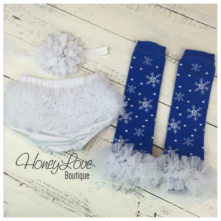Leg Warmers - Blue Snowflakes, matching flower headband and bloomers - HoneyLoveBoutique