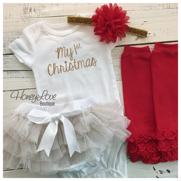 My 1st Christmas 4 piece Set - White, Gold and Red - HoneyLoveBoutique