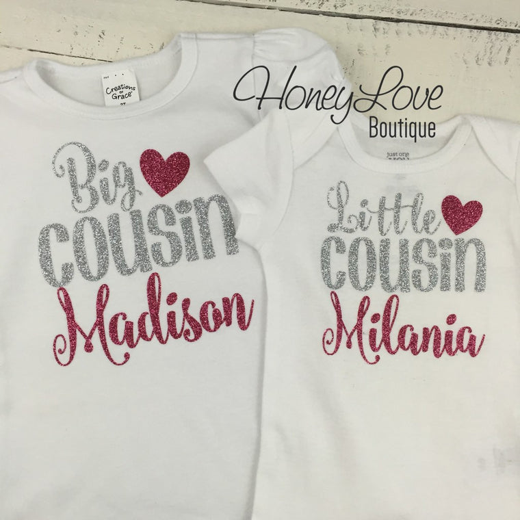 PERSONALIZED Cousin Bodysuits and Shirts - Silver Glitter and Dark Pink Glitter