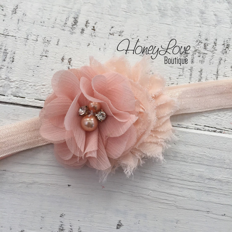 Peach shabby chiffon flower rhinestone pearl headband bow, elastic head band pearls newborn infant toddler little baby girl - HoneyLoveBoutique