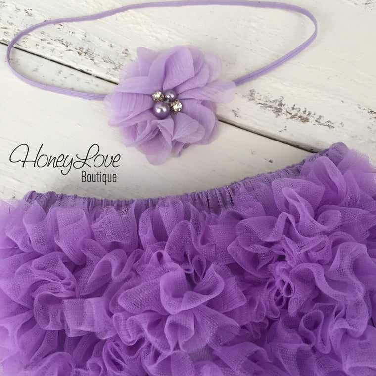 Lavender Purple ruffle bottom bloomer and skinny headband - HoneyLoveBoutique