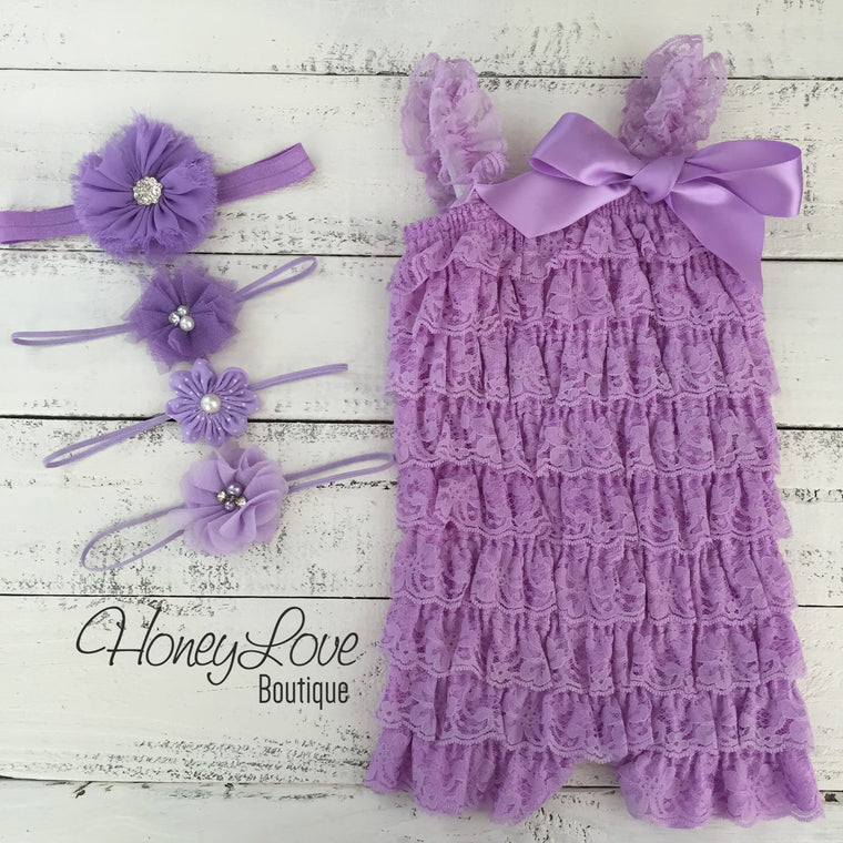 Lace Petti Romper, Purple Lilac Lavender, matching flower headband rhinestone pearl polka dot, newborn infant toddler baby girl outfit set - HoneyLoveBoutique