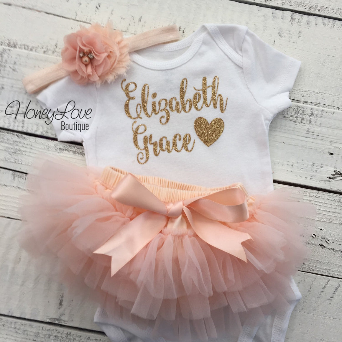 PERSONALIZED Name Outfit - Gold Glitter and Peach - HoneyLoveBoutique