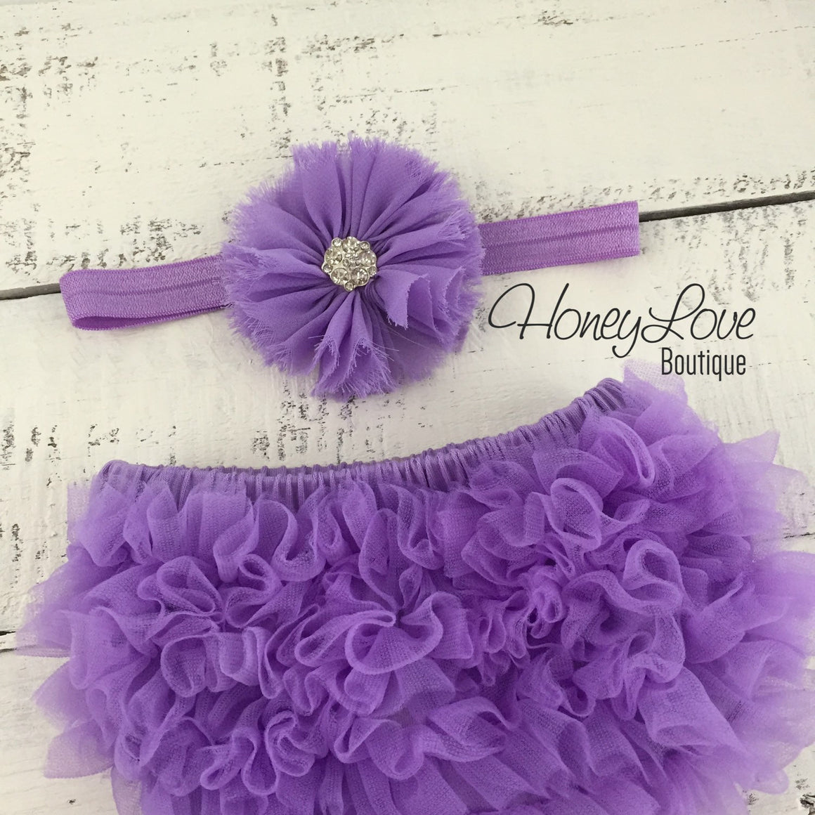 Lavender Purple ruffle bottom bloomer and rhinestone headband - HoneyLoveBoutique