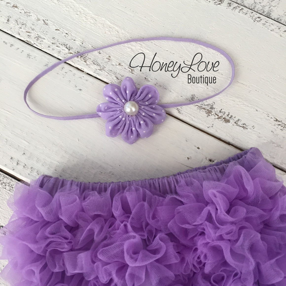 Lavender Purple ruffle bottom bloomer and polka dot flower/skinny headband