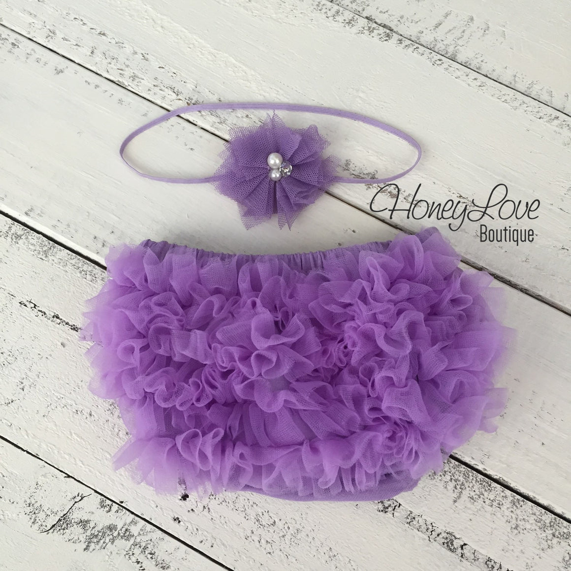 Lavender Purple ruffle bottom bloomer and tulle skinny headband - HoneyLoveBoutique