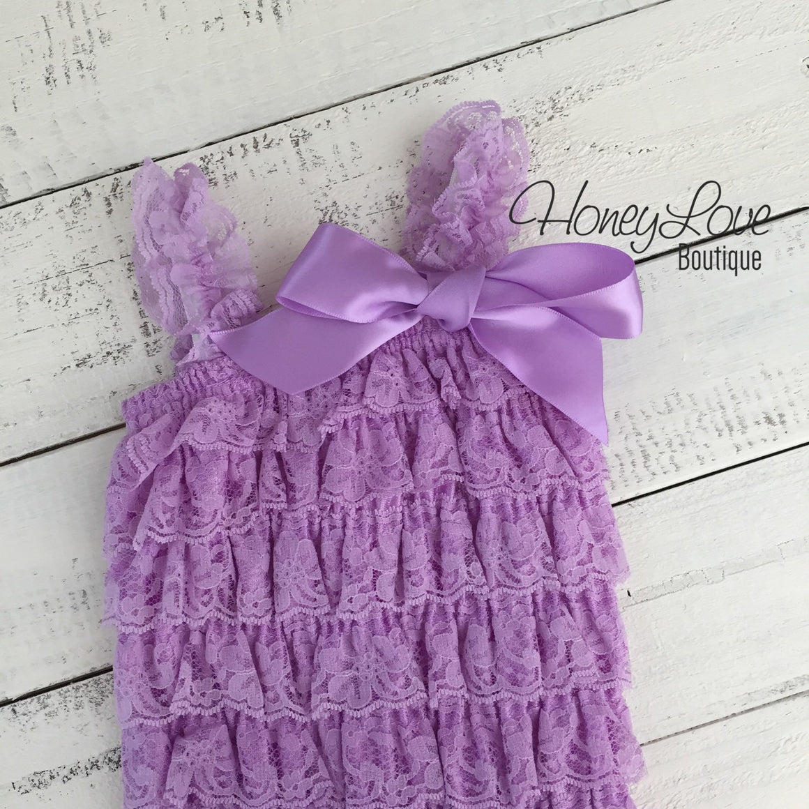 Lace Petti Romper Lavender Purple and matching headband