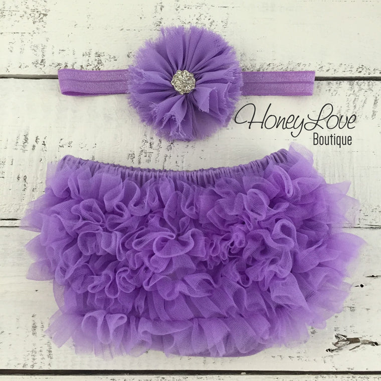 Lavender Purple ruffle bottom bloomer and rhinestone headband