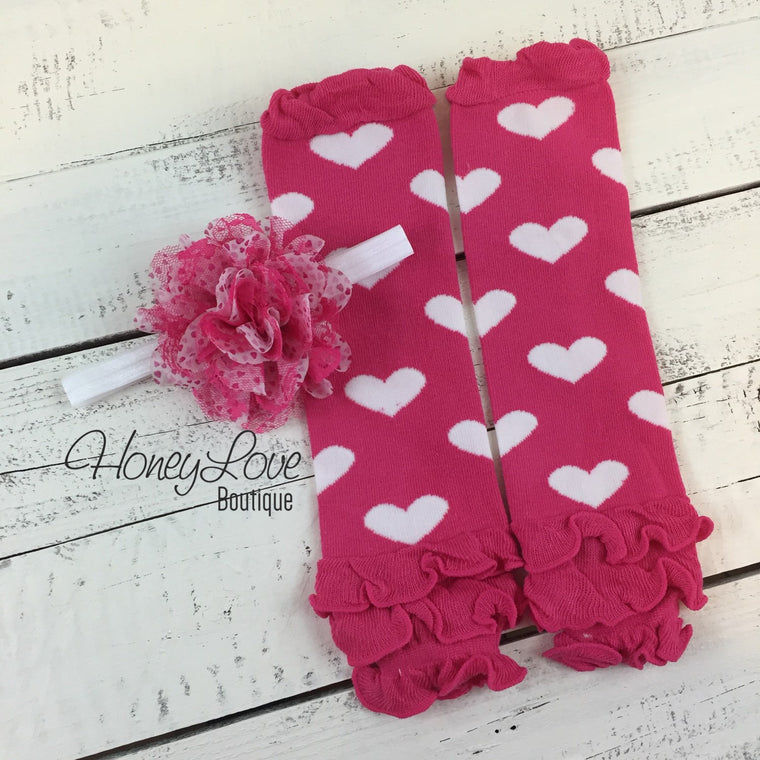 Pink and White Heart Ruffle bottom leg warmers and optional flower headband - HoneyLoveBoutique