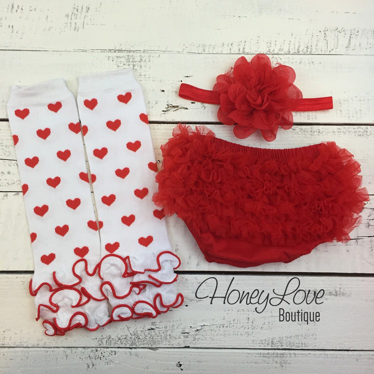Red and White heart leg warmers, red flower headband, ruffle bottom bloomers