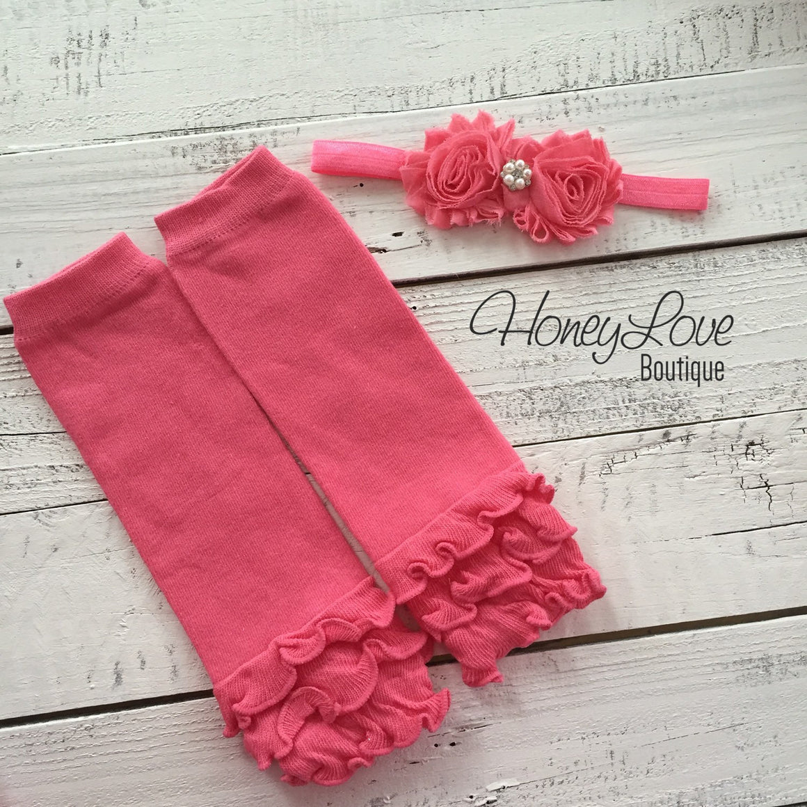 Coral Peach Light Pink Ruffle bottom leg warmers, matching rhinestone pearl headband hair bow, infant toddler baby girl, Valentine's Day - HoneyLoveBoutique