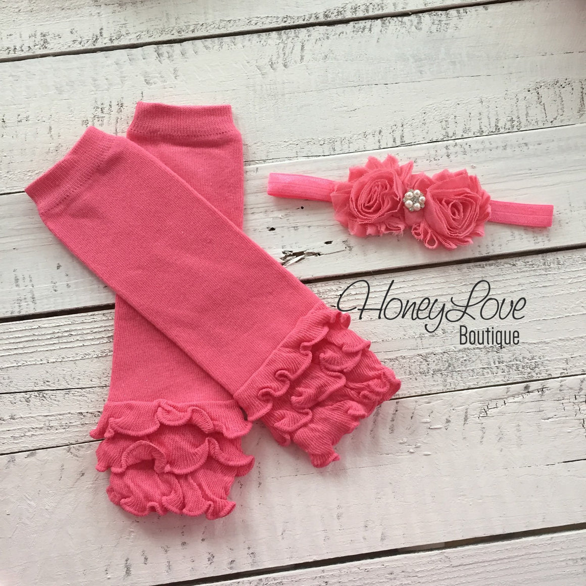 Coral Pink Ruffle Leg Warmers and matching headband