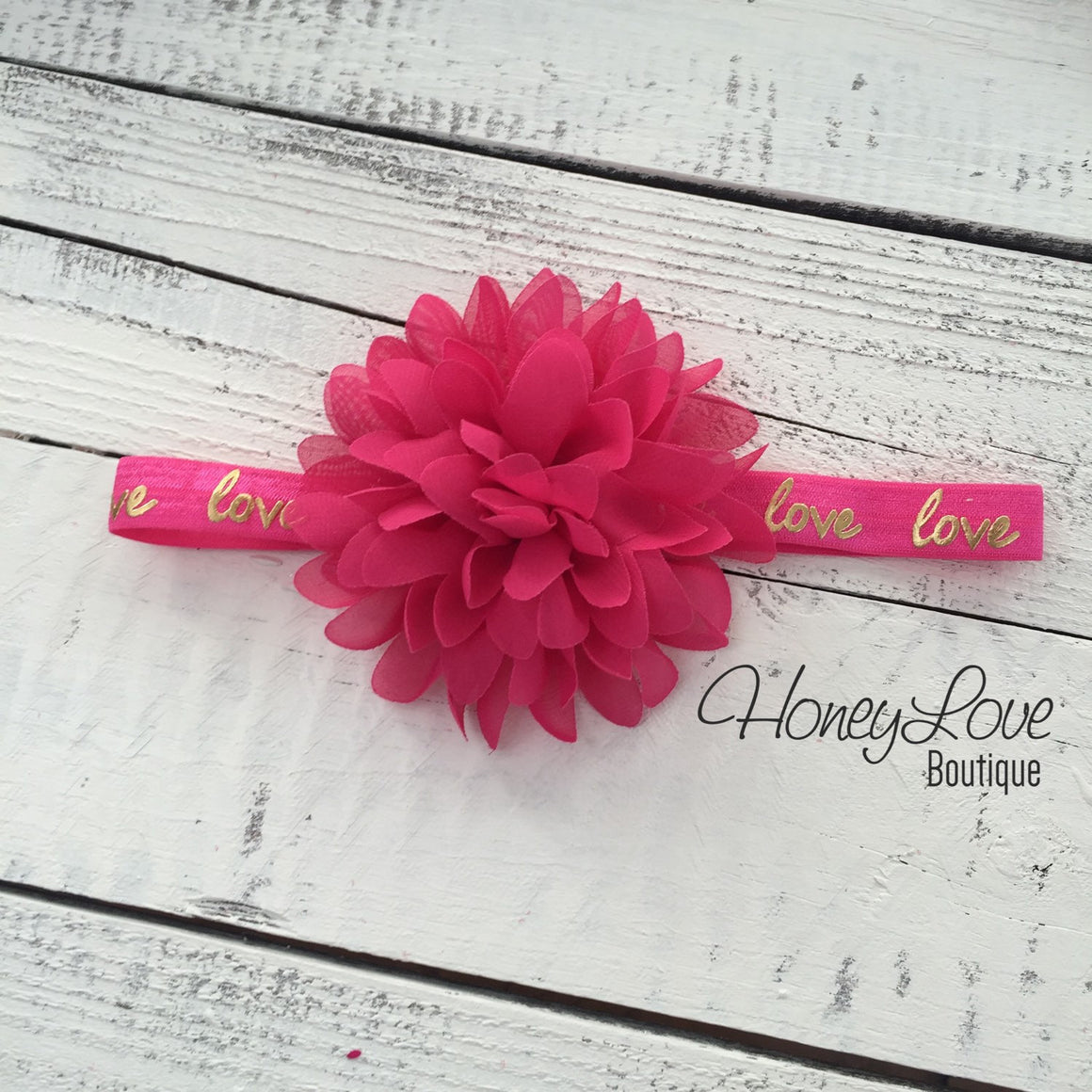 Love gold foil and watermelon pink headband - HoneyLoveBoutique