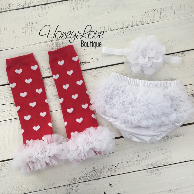 Red and White heart leg warmers, white flower headband, ruffle bottom bloomers