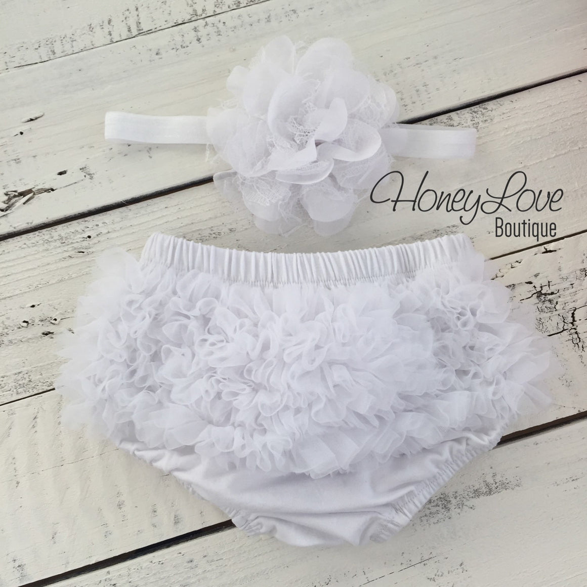 Pink and White heart leg warmers, white flower headband, ruffle bottom bloomer - HoneyLoveBoutique