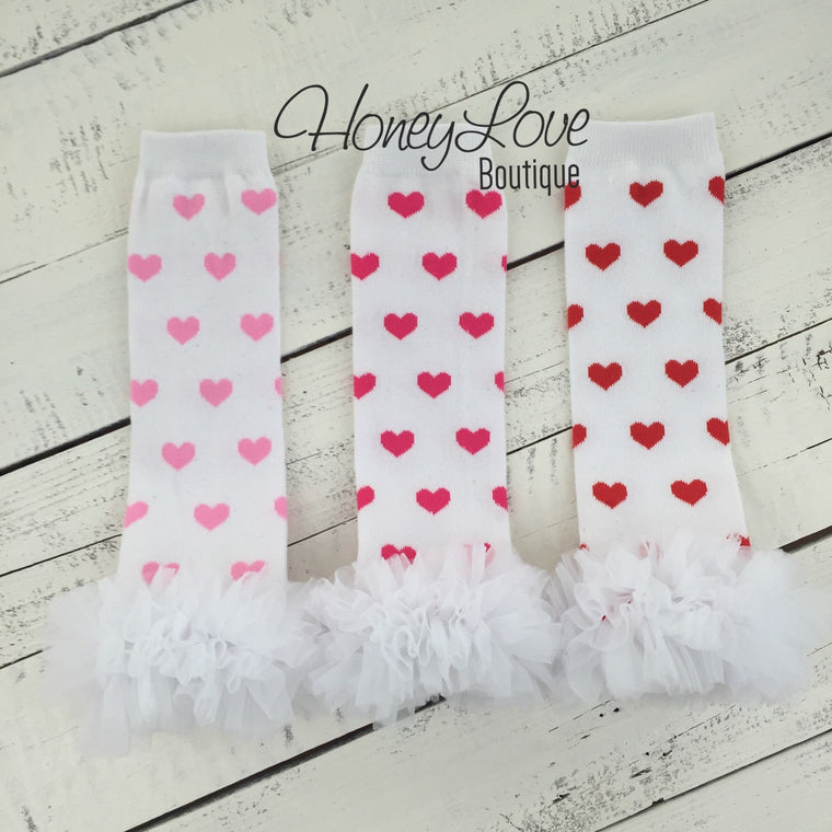 Leg warmers - Light Pink, Hot Pink or Red Hearts