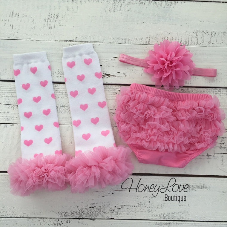 White/Pink Heart leg warmers, pink flower headband, ruffle bottom bloomers