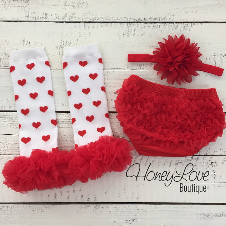 White/Red Heart leg warmers, red flower headband, and ruffle bottom bloomers