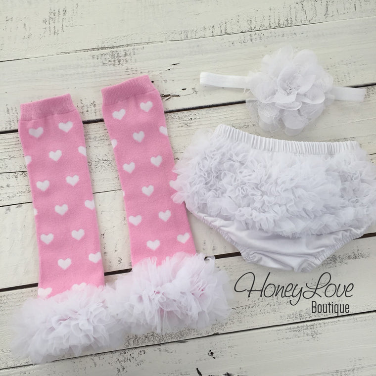 Pink and White heart leg warmers, white flower headband, ruffle bottom bloomer