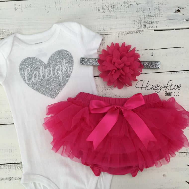 PERSONALIZED Name Heart Set GOLD or SILVER glitter shirt pink flower headband bow tutu skirt bloomer infant baby girl Valentine's Outfit - HoneyLoveBoutique