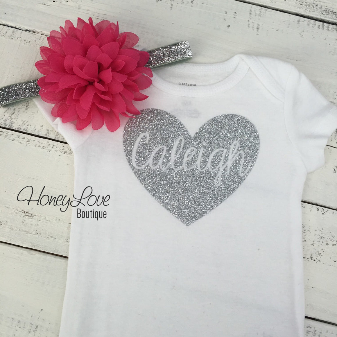 PERSONALIZED Silver or Gold Name in heart bodysuit - optional pink headband - HoneyLoveBoutique