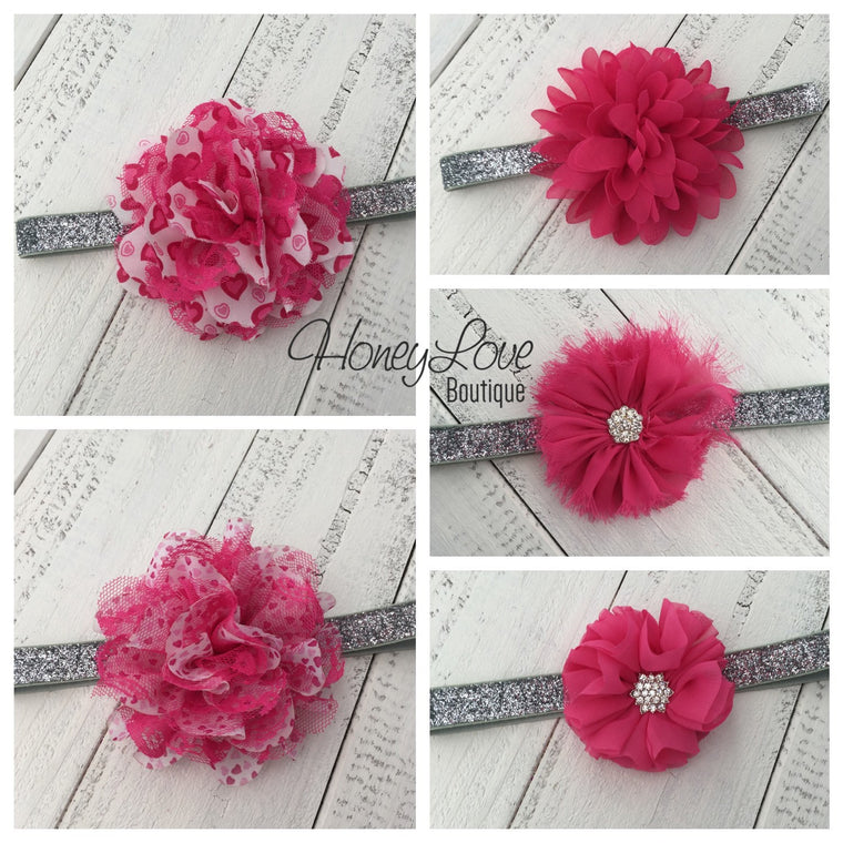 Watermelon Pink flower headband - HoneyLoveBoutique
