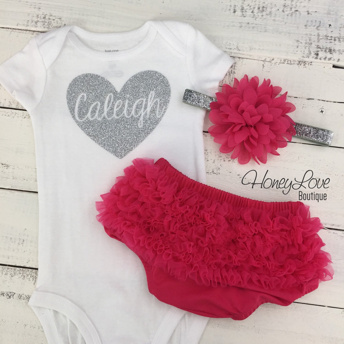PERSONALIZED Name inside Heart - Watermelon Pink and Silver/Gold Glitter - ruffle bottom bloomer - HoneyLoveBoutique