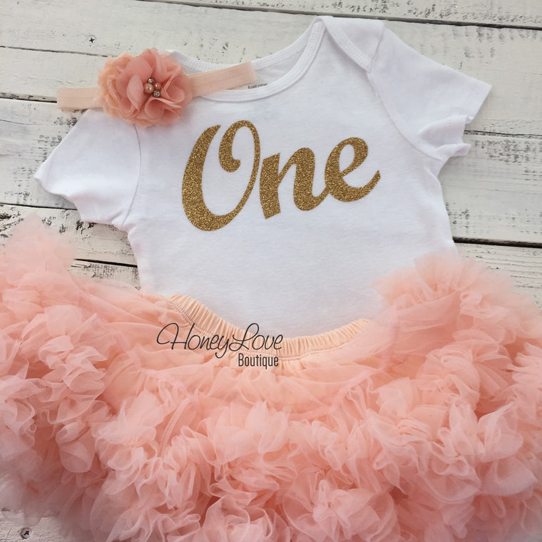 One - Birthday Outfit - Gold glitter and Peach - HoneyLoveBoutique