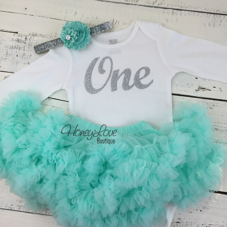 One - 1st Birthday Outfit- silver glitter and mint/aqua