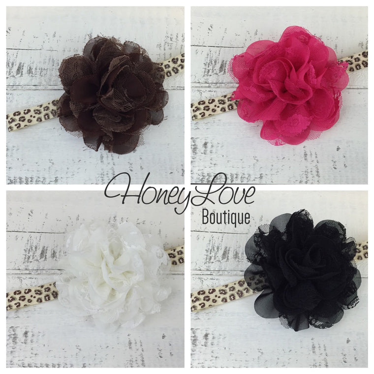 Leopard Glitter Elastic and Flower Headband - Hot Pink, Ivory, Brown, Black