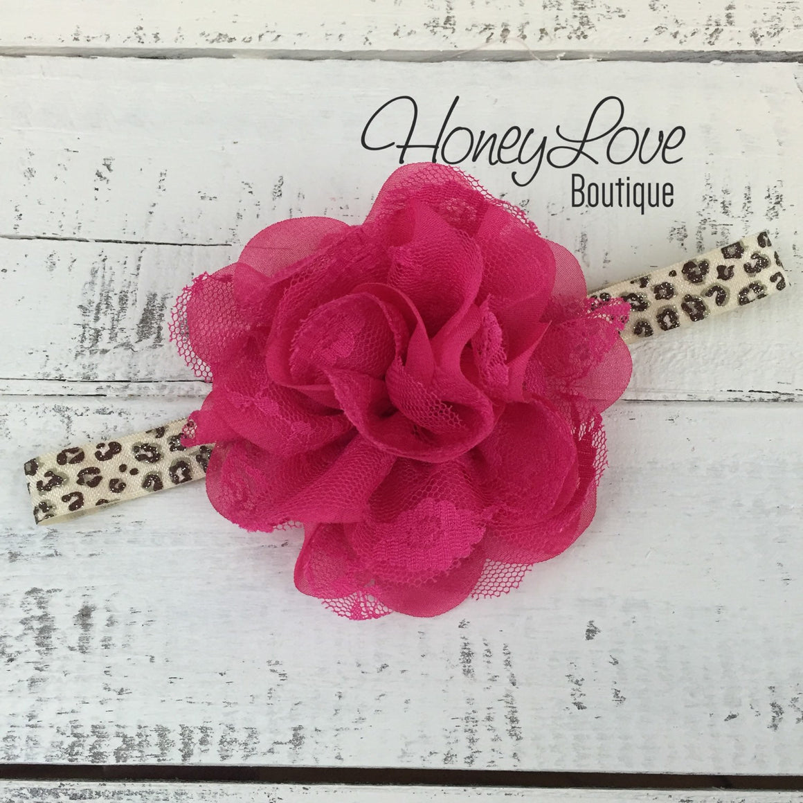 Leopard Glitter Elastic and Flower Headband - Hot Pink, Ivory, Brown, Black - HoneyLoveBoutique