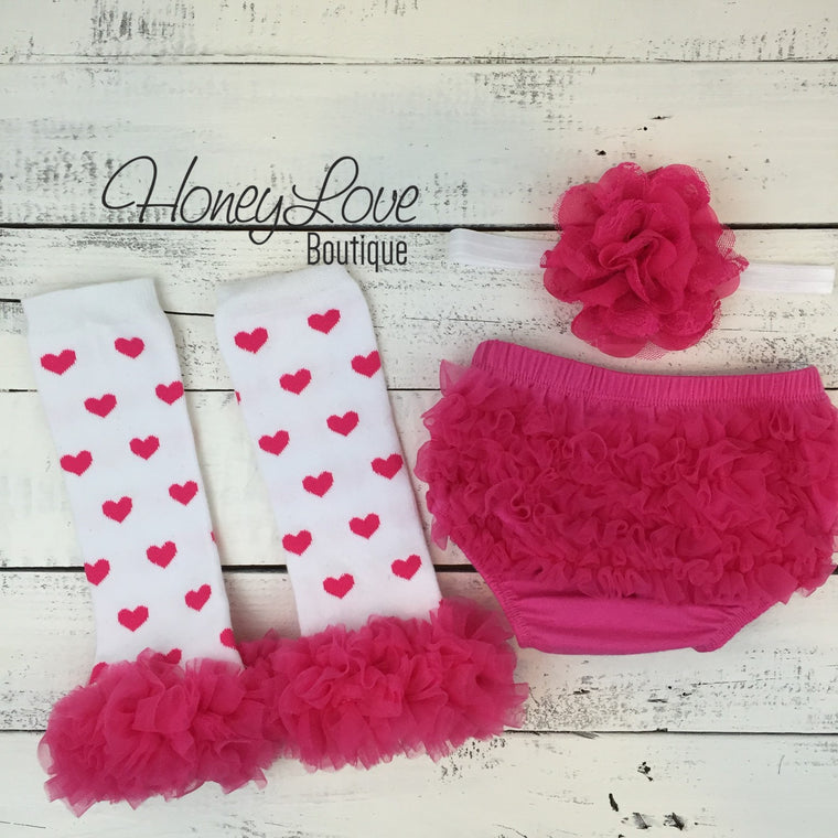 White/Hot Pink Heart leg warmers, flower headband, ruffle bottom bloomers