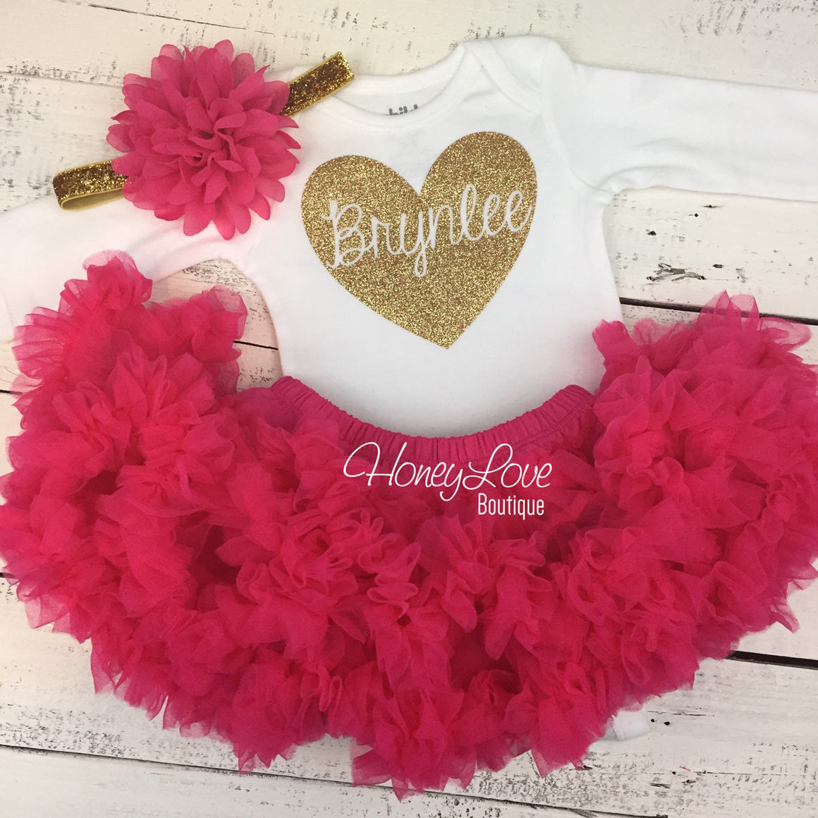PERSONALIZED Name inside Heart - Gold/Silver and Watermelon Pink Pettiskirt - HoneyLoveBoutique