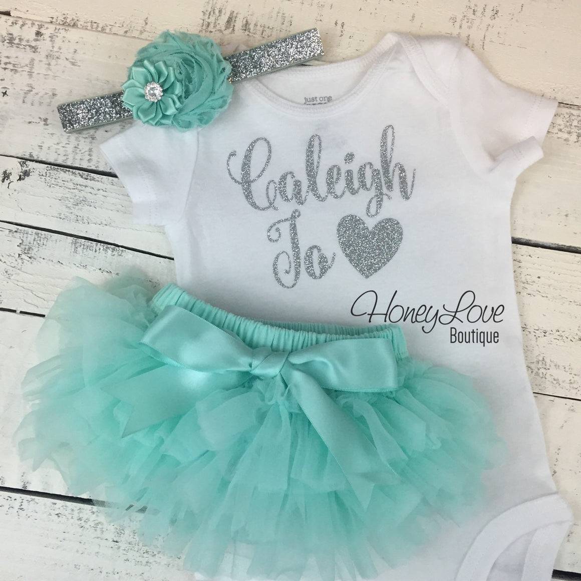 PERSONALIZED Name Outfit - Silver Glitter and Mint/Aqua - HoneyLoveBoutique