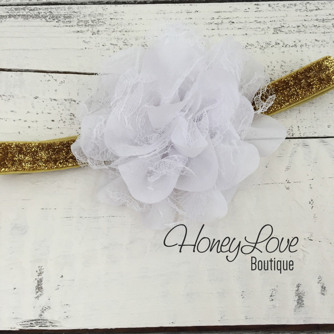 White and gold glitter heart ruffle bottom leg warmers and matching headband - HoneyLoveBoutique