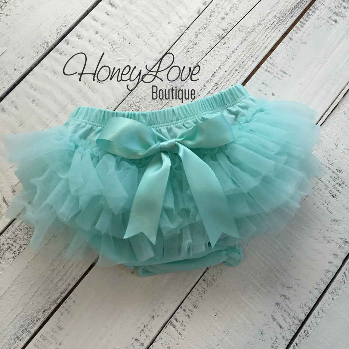 PERSONALIZED SET silver glitter shirt bodysuit, mint aqua tutu skirt bloomers, flower headband, newborn baby girl take home hospital outfit - HoneyLoveBoutique