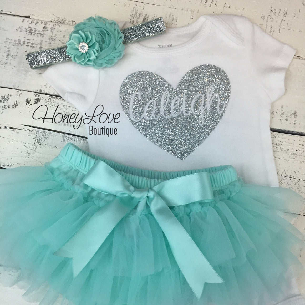 PERSONALIZED Name inside Heart - Silver Glitter and Mint/Aqua - HoneyLoveBoutique