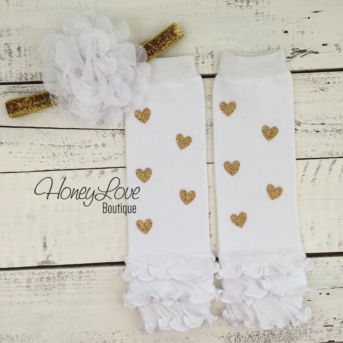 Gold glitter heart ruffle bottom leg warmers stockings leggings, white flower headband bow, newborn infant baby toddler little girl - HoneyLoveBoutique