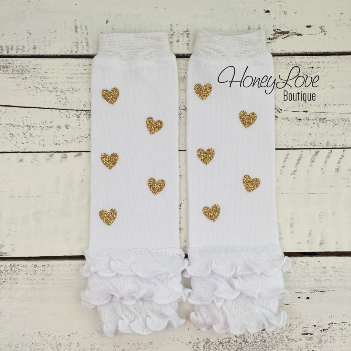 White and gold glitter heart ruffle bottom leg warmers and matching headband