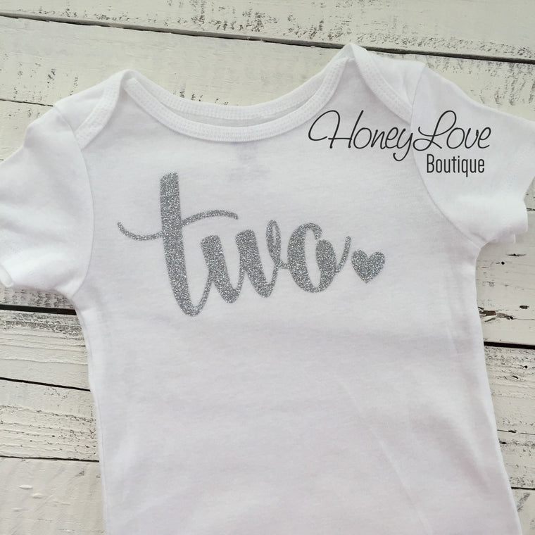 Two - Silver Glitter Bodysuit - HoneyLoveBoutique