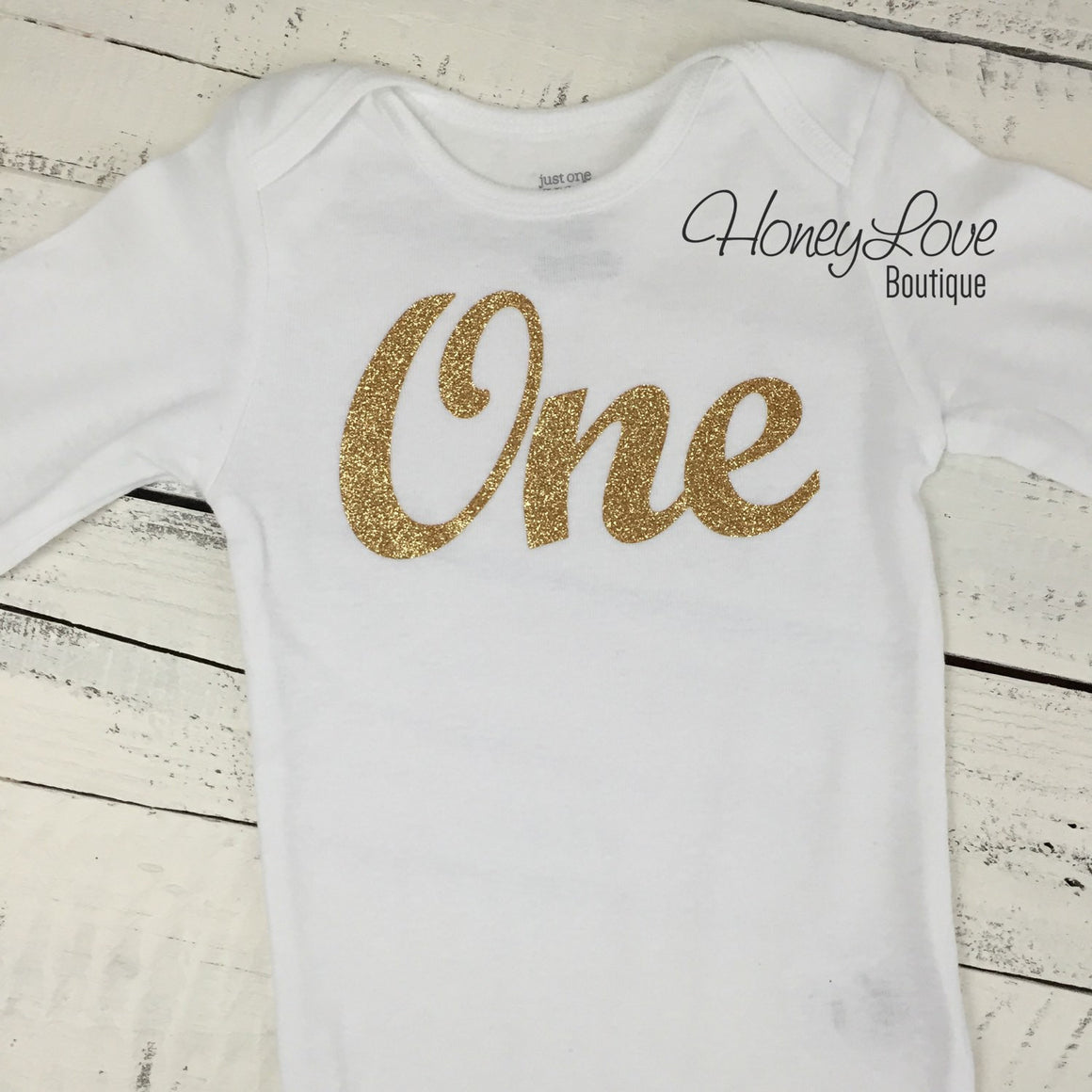 One - gold glitter bodysuit - HoneyLoveBoutique