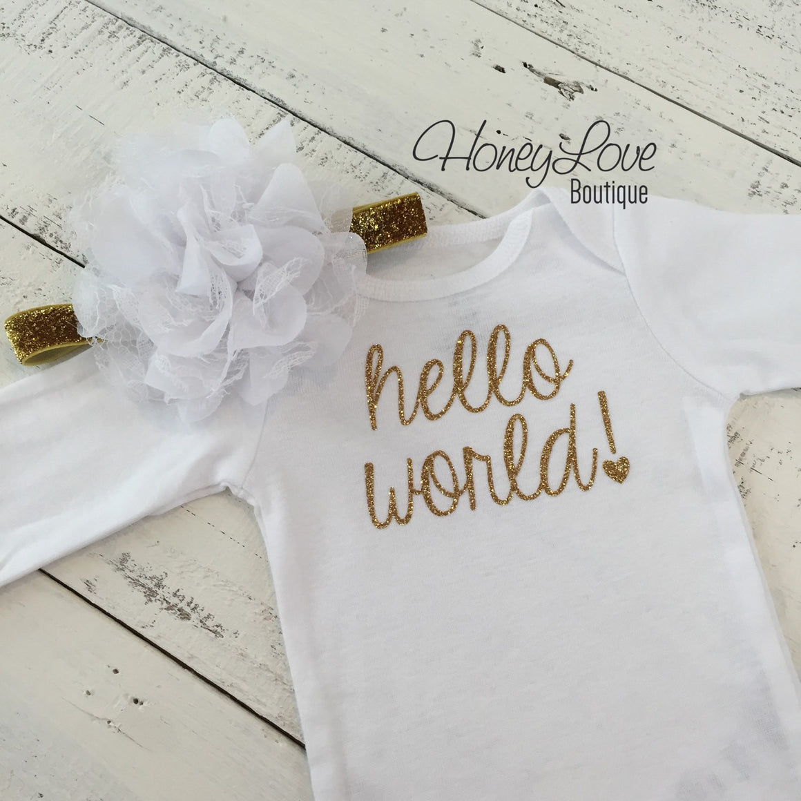 Hello World! Gold Glitter bodysuit and headband set - HoneyLoveBoutique