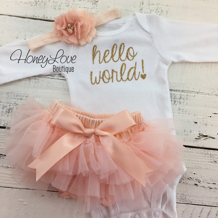 hello world! Outfit - Peach and Gold - HoneyLoveBoutique